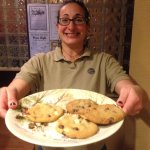 Emily the owner with fresh bakes cookies