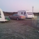 a beautiful frosty morning looking out from caravan