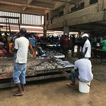 Stall holders inside the fish market