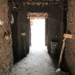 Mud walls separating the different functions of rooms inside one of he larger huts