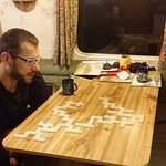 Playing bananagrams one night in the caravan