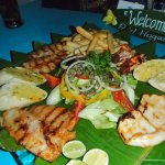 Seafood platter - BUT have already eaten part of it; YUM