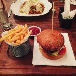 Lamb burger with Oreo shake