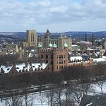 Yale Old Campus in foreground and Harkness Tower behind