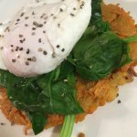 Sweet Potato Rosti with wilted spinach and poached egg.. Yummy