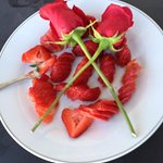 When we boarded, we were served these delicious strawberries drizzled with ginger oil.