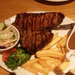 T'bone steak with side salad, chunky chips ( unlimited ) & triple peppercorn sauce