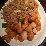 sweet and sour chicken and fried rice