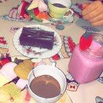 Strawberry milkshake, chocolate pots, and a malteaser brownie!
