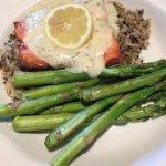 Salmon & Asparagus over a rice Provencal with Dill
