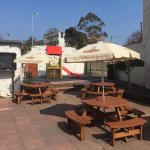 beer garden, seating, outside TV and play area