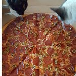 Pepperoni, Green Olive and Cat Pizza