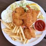 Shrimp & Chips at Praia Fish Market - delicious!
