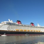 Disney ship leaving port next to Jetty Park.