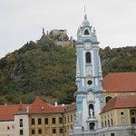 Dürnstein's Abbey Church and the castle ruins