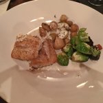 Fish in honey mustard sauce, (striped bass, I think) Brussels sprouts, potatoes delicious!