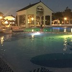 french village pool at night