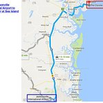 Map direction from Jacksonville International Airport to The Cloister at Sea Island
