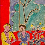 Two Girls, Red and Green Background, Henri Matisse, 1947