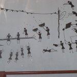Warli Painting on the restaurant walls
