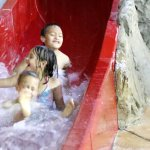 The red slide is great for smaller kids.