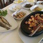 Two hot meze starters (then there was spaghetti, mussels, coquilles and calamari!)