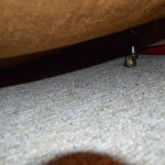 sagging 1970s divan ,unclean linen ,dirty carpet