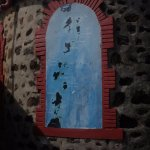 Map of Grenadines on the church's back wall