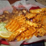 Blackened Grilled Shrimp and waffle fries.