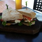 Toasted Ciabatta Sandwich- Vegie Tramezzino with roast capsicum, tomato, eggplant and bocconcini