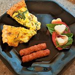 Two Kinds of Vegetarian Quiche with Caprese Salad and Sausage