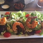 Mexican salad with grilled shrimp topping