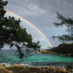 This rainbow showed up on our main beach area , wow!!!