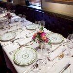 Table with floral arrangement