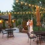 Wedding couple dancing on the deck