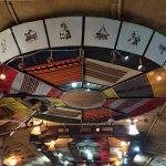 Interesting restaurant roof decoration.