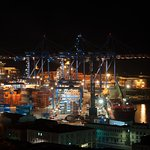 View from the balcony at night - the port of Valparaiso