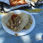 Yum. Fish tacos with potatoes. Really good eating! Caribean Adventures is a great choice!