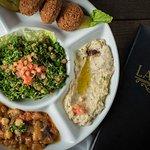 Mezza Vegie Supreme ( Includes Hummus, Baba Ghanouj, Mousaka, Falafel and Tabouleh )