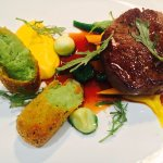 pan fried beef fillet, butternut puree, baby carrot, courgette, french beans, herb croquette, ju