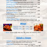 Appetizers, Wings, Salads & Soup
