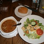 Chicken soup, salad, and bread
