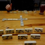 playing dominos while we drink