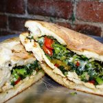 Our Best Selling Chicken Sandwich,  chicken, topped with broccoli rabe garlic and provolone