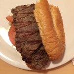 1/2 of the delicious Rib Eye steak sandwich.