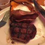 Lunch special. 6oz sirloin and a sweet potato. Divine!