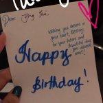 Q-team handwritten birthday card