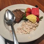 Great selection of different cuisines, awesome Bircher muesli and banana bread!