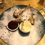 The frech toast with mixed berry compote
