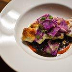 Local monkfish, braised black beans, romesco, bravo radish.